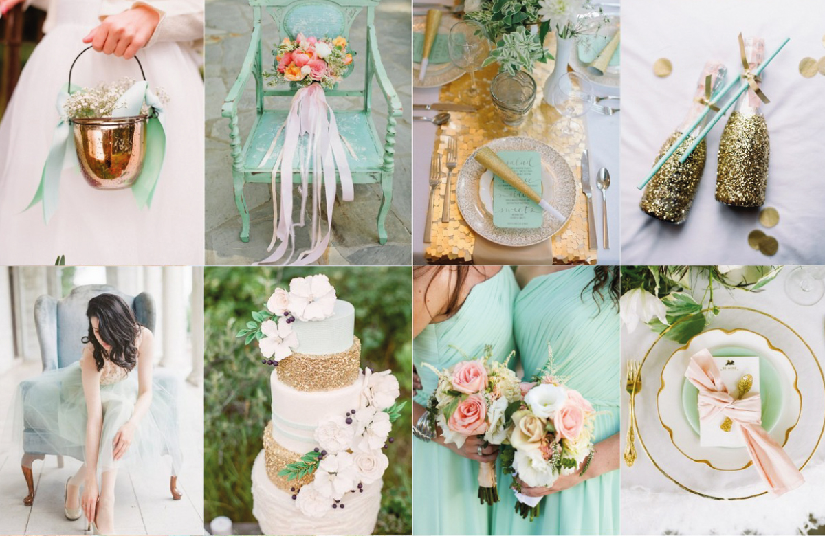 Mint Gold Amp Pink Flowers By Brides Amp Blooms